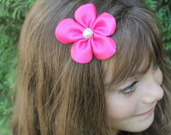 Hot Pink Flower Hair Clip - 5 Petal Flower Hair Bow - Toddler Girl Adult Hair Accessory