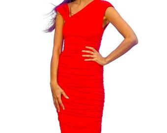 red jersey dress, ruched dress, asymmetric dress, wiggle dress, red dress