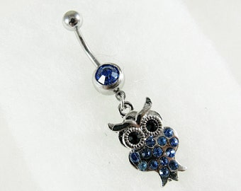 Belly Ring,  Owl with Blue Rhinestone  Womens Gift Handmade