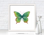 Green Butterfly Painting, Butterfly Print, Original Butterfly Watercolor, Butterfly Greeting Cards, Butterfly Art, 74 Green Flame Tip