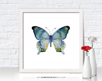 Blue BUTTERFLY Painting, Butterfly Art, Butterfly Print, Blue Butterfly Watercolor, Butterfly Greeting Cards, 68 Laglaizei Butterfly