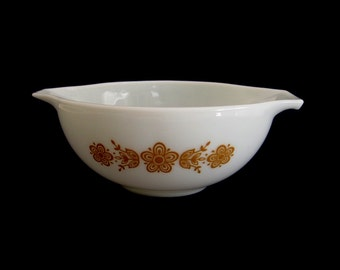 Pyrex Mixing Bowl Butterfly Gold 443 2 1/2 Qt Cinderella Side Handle Spouts White Harvest Gold Flowers Medium Large