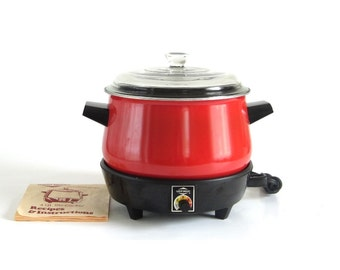 West Bend Lazy Day Slow Cooker 4 Qt Red Round Non-Stick