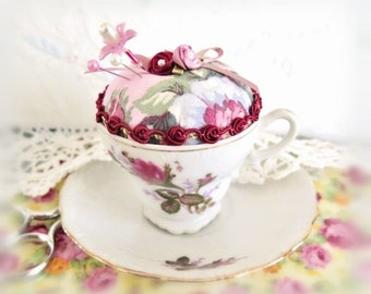 "Pincushion Tea Cup, Small Demitasse  2 1/2"" Teacup Pin Cushion Cup/ Saucer, Handmade Soft Sculpture Handcrafted CharlotteStyle Needlecraft"