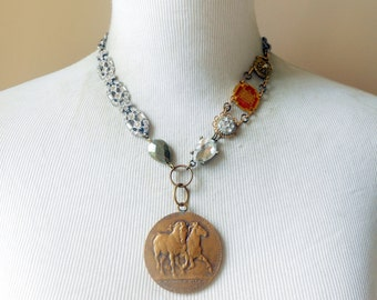 Horse Medal Necklace, Assemblage Jewelry, Eclectic, Rhinestone Paste, Pyrite, Antique Bronze Medal, Vintage Repurposed, Upcycled, Recycled