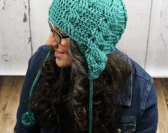 Crochet Pattern ~ Aspen Cabled Ear Flap Beanie ~ Crochet Pattern