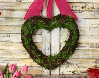 Heart Wreath -Valentine Wreath- Choose Bow - Moss Wreath - Quick Ship