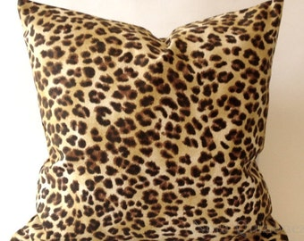 Leopard Print Decorative Pillow Cover - Medium Weight Cotton- Invisible Zipper Closure- Cushion Cover