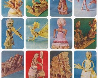 Primitive Folk Straw Toys. Collection / Set of 12 Vintage Prints, Postcards -- 1974