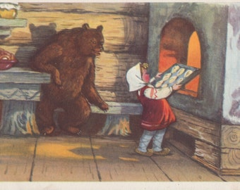 "Postcard Illustration by T. Sazonova for Russian Tale ""Masha and the Bear"" -- 1955"