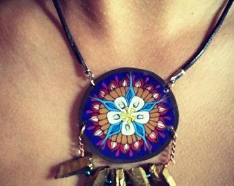 Wildflower Series: Blue Columbine Flower Mandala Necklace