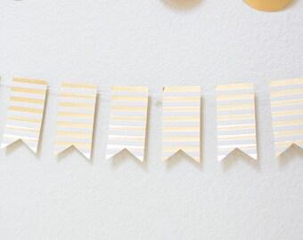 Gold Foil Stripe / Mini Flag Garland - 8 feet with 55 Flags