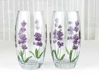 Hand Painted Glasses, Lavender Glasses, Set of 2, Floral Tumblers, Water Glasses, Everyday Glasses, Lavender Design, Drinking Glasses