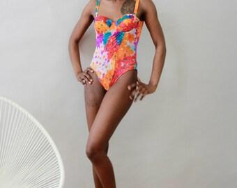 Vintage 80s Bold Floral Print Swimsuit
