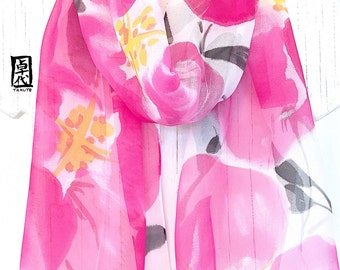 Silk Scarf Handpainted, Gift for her, Gift for Women Scarf, Pink Silk Chiffon Scarf, Silk Scarves Takuyo, Pink Primroses Scarf, 11x60 inches
