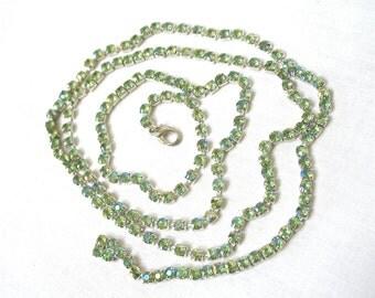 "Aurora Borealis Rhinestone Necklace, 40"" Long, AB light green, flapper style, multi chain, multiple looks, silver tone, gift idea, Excellent"