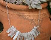 Angel Aura Quartz Necklace, raw crystal bib necklace, aura quartz necklace, boho crystal necklace, chakra necklace