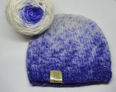 Ombre Knit Beanie Kit Pattern and Yarn Violet Gem