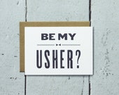 Will You Be My Usher Card - letterpress usher card