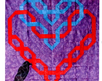 Celtic Double Hearts with a Raven quilting pattern