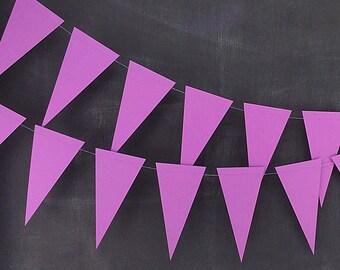 Violet Pennant 6ft Garland: Rainbow Birthday Party, Halloween Bunting, Purple Wedding, Photo Backdrop, Mardi Gras Garland, Carnival Decor