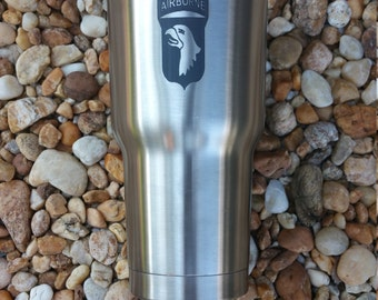 101st Airborne 30oz Laser Engraved, RTIC Tumbler Stainless Steel
