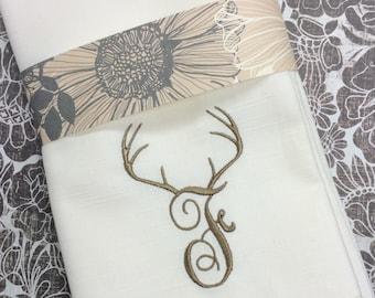 Deer Antler Monogrammed Embroidered Cloth Napkins, deer napkins, reindeer monogrammed napkins, deer monogrammed cloth napkins, hunting gift