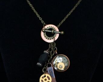 Steampunk Charm Necklace Steampunk Necklace Steampunk Jewelry Steampunk Clothing Steampunk Wedding Steampunk Gifts Steampunk Gear Necklace