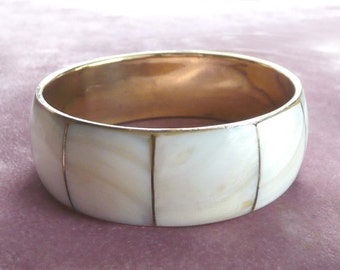 Mother of Pearl & Brass Bangle Bracelet Vintage