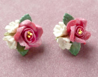Rhinestone Flower Earrings Clip Ons Old Fashioned 1950s Retro Vintage