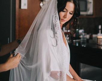 Cathedral length veil, Mantilla Veil, lace edge veil, eyelash lace veil, bridal veil, wedding veil, long veil, english net veil, SALE