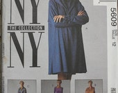 McCall NY NY Collection 90s 1990s 5609 Hooded Tunic Dress Leotard Sewing Pattern Size 12 Bust 34