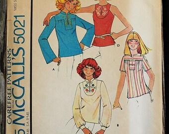 McCall 5021 1970s 70s  Prairie Girl Yoked Shirt Hippie Boho Bohemian Vintage Sewing Pattern Size 10-12 Bust 32.5-34