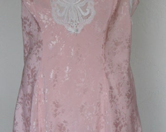 Vintage Chemise Nightgown Nightie Shirley of Hollywood Large Pink