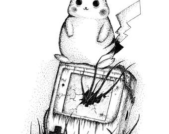 Pikachu- A4 (approx 8x12) pokemon inspired art print by Jon Turner- cute geeky artwork- FREE WORLDWIDE SHIPPING