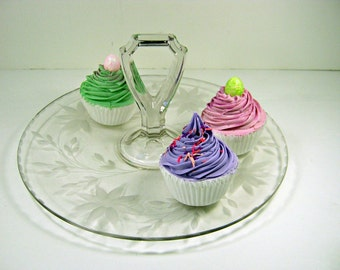 Vintage CUPCAKE SERVER Flower Etched Glass w/ Handle Appetizer Tidbit Tray
