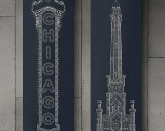 "Chicago Canvas Wraps, Chicago Water Tower & Chicago Theatre Sign, 10 x 30"", Chicago Wall Art, Chicago Canvas Prints"