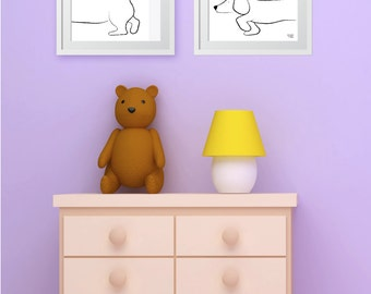 Dachshund, Print Illustration, Wall Art, Nursery Art, Decor, Cute, adorable, puppy, dachshund parent, sausage, dog, doggie, black & white