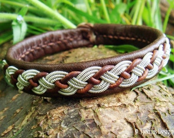 Sami Lapland VALHAL Reindeer Leather Bracelet Cuff Womens and Mens Bracelet in Antique Brown with Braided Spun Pewter and Leather Cord