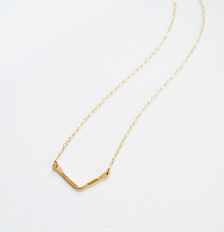 small gold chevron necklace gold v pendant v necklace