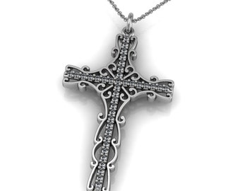 Unique Diamond 14k Gold Cross Pendant Necklace accented by 38 small diamonds 0.38ct | made to order for you within 5-7 business days