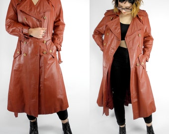 HOLIDAY SALE 1970's brown leather trench coat / vintage Sears JR Bazaar genuine leather coat / belted double breasted trench