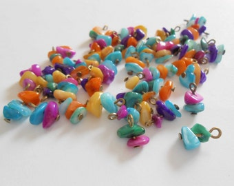 Multi Color Chip & Nugget Glass Dangle Beads
