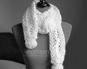 Cottontail Scarf with Pom Pom Tutorial - DIY Easy Crochet PATTERN PDF 7207