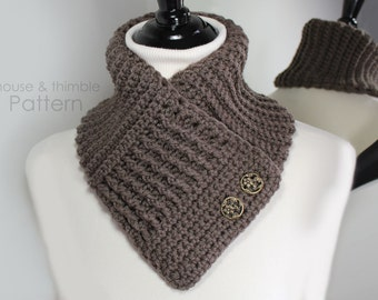 Crochet Scarf V-Neck Double Button Waffle Design PATTERN Tutorial - PDF 2405