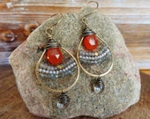 Embers. Hammered Artisan Boho Gold Brass Chandelier Earrings with Wire Wrapped Carnelian, Labradorite, Pearl and Quartz Gemstones-Gypsy Gift