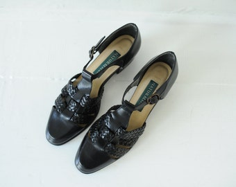 Vintage Naturalizer Black Leather Woven T-Strap Sandals, Womens 8 1/2