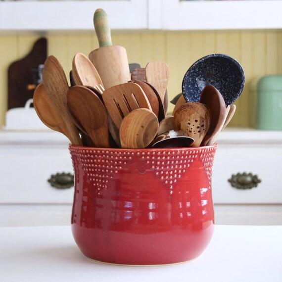 Jumbo Size Kitchen Utensil Holder 16 Colors By Backbaypottery