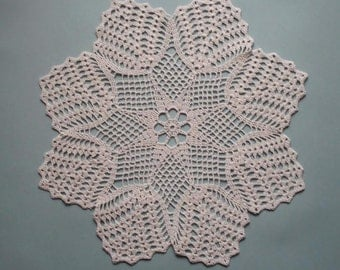Round lace crochet doily.  off white. ecru. ivory. 15 inches. ready to ship.