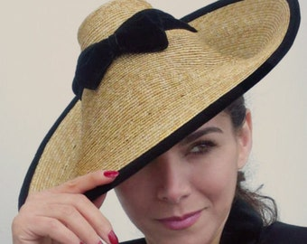 The Cafe de Paris Hat - Straw Coolie - Perching Hat - Summer Glamour